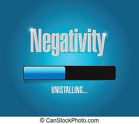 uninstalling, negativiteit, illustratie, ontwerp
