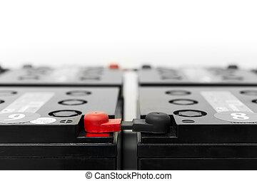 uninterruptible, 電源, 電池, 棒, 黒い赤