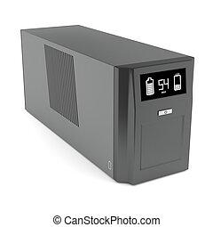 Uninterruptible power supply on white background