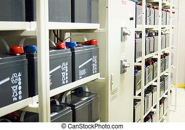 Uninterruptible Power Supply (UPS) Batteries - A bank of...