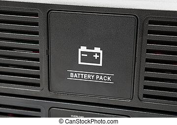 uninterruptible power supply (ups) reserve battery, closeup...