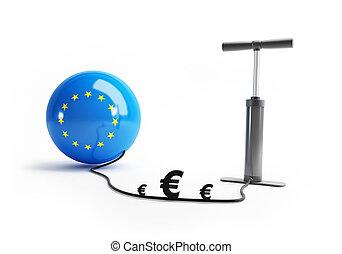 union, argent, pompe, européen, euro