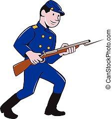 union, baïonnette, dessin animé, fusil, soldat, armée