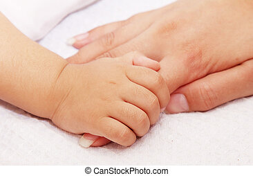 Union - baby taking his mother's hand. white background