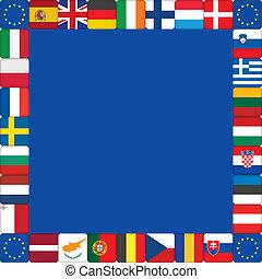 union, cadre, drapeaux européens, icônes