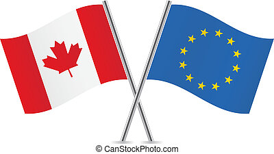 union, canadien, européen, flags.