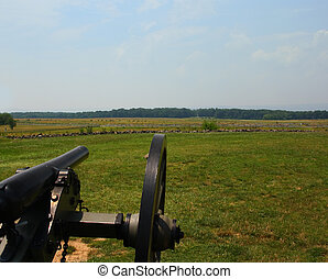 Union Cannon at Gettysburg - A union cannon overlooking the...