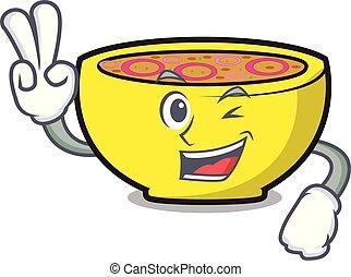 union, caractère, deux, soupe, doigt, dessin animé
