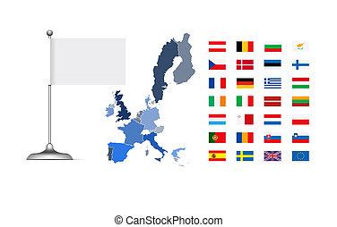 union, carte, drapeau, européen