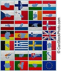 union, cartes, drapeaux, européen