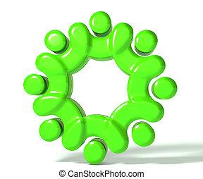 union, collaboration, gens, vert, 3d