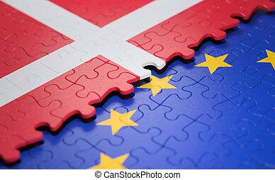 union, danemark, puzzle, drapeau, européen