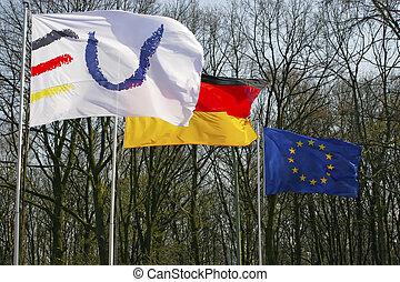 union, deux, une, drapeau allemand, européen
