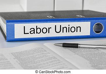 union, dossier, étiquette, main-d'œuvre