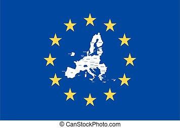 union, drapeau européen, etats, membre, vecteur, carte