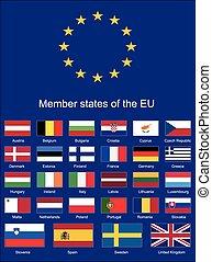 union, drapeaux, eu, drapeaux, européen
