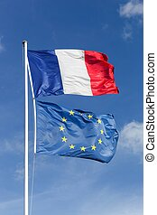 union, drapeaux, européen français