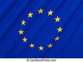 union, eu, drapeau, européen