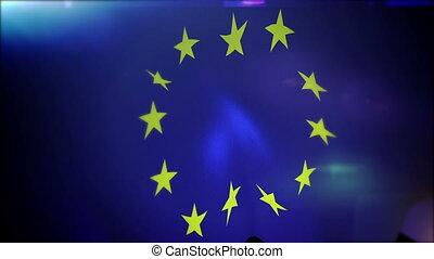 """union, européen, bannière, slo-mo"""", """"waving"""