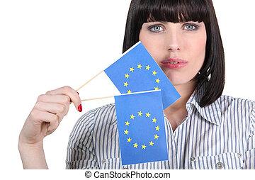 union, femme, drapeaux, joli, européen