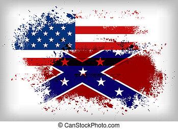 union, flag., drapeau, vs., confédéré