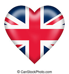 Union flag heart button isolated on white with clipping path