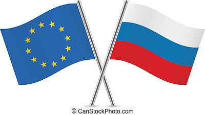 union, flags., russe, européen