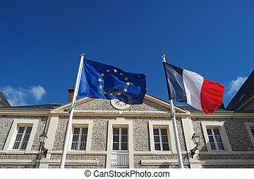 union, france, onduler, drapeaux, vent, européen
