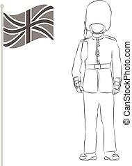 Angleterre Résumé Soldat Drapeau Fond Beefeater