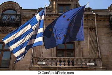 union, grec, drapeaux, européen