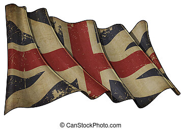"""Illustration of an aged waving Union Jack of the period 1606-1801 otherwise named and """"The King's Colours"""", against white background"""
