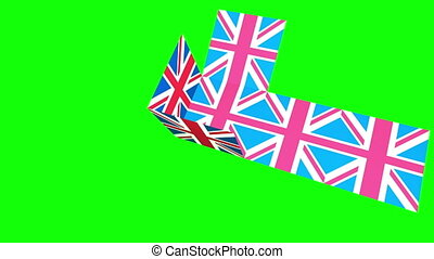 Union Jack box on green screen