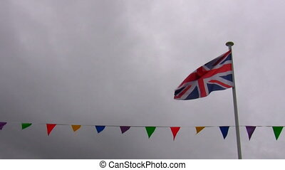 Union jack flag and bunting row