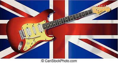 Union Jack Flag And Electric Guitar