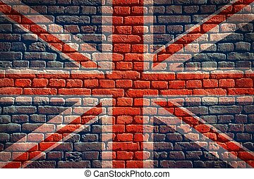 Union Jack flag background on a brick wall