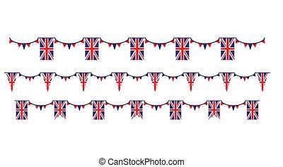 Union Jack flag and objects for design. United Kingdom symbols set flag, badge, emblem