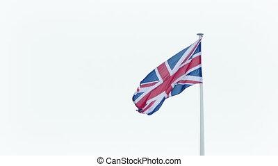 Union Jack Flag Blowing Around - British flag blows around...