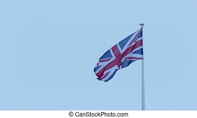 Union Jack Flag In The Wind - British flag blowing around
