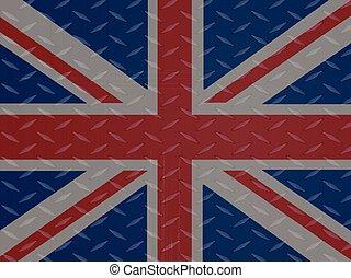 Union Jack flag over metallic diamond plate