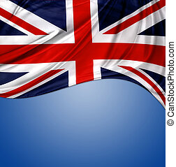 Union Jack flag on blue background