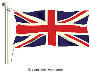 The British Union Flag, or Union Jack when used on board ship, isolated on white.