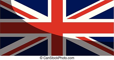 Union Jack Flag With Shadow - The UK Union Jack flag with a...