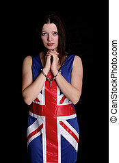 Union Jack girl in Hnadcuffs
