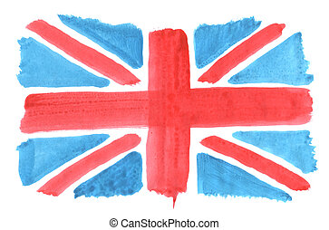 union jack - hand painted uion jack on white background