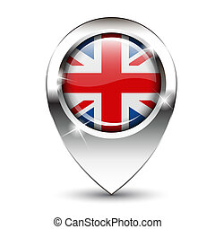 Union Jack flag on glossy map pin, against white background with shadow.