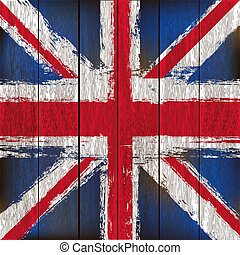 Grunged British Union Jack Flag over a wooden plank background illustration