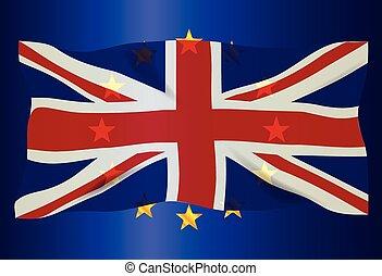 Union Jack Over EU Flag
