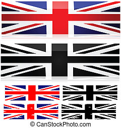 Union Jack styles - Union Jack flag represented in different...