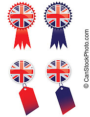 Union Jack Tags - A set of four tags with a rosette and tag...
