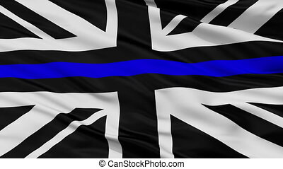 Union Jack Thin Blue Line Flag Closeup View Seamless Loop -...